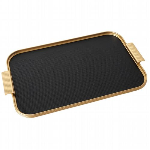 Kaymet Tray - Diamond Ribbed - Black & Gold